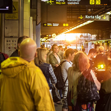 Passengers waiting in Sweden